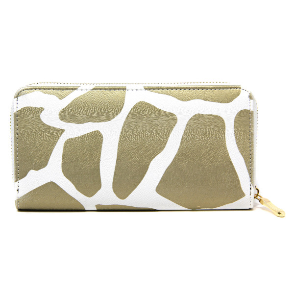 """Faux leather giraffe print long wallet featuring a zipper coin pouch, full-bill and card compartments with zip around closure.  - Approximately 7.5"""" W x 4"""" T - 100% PU"""