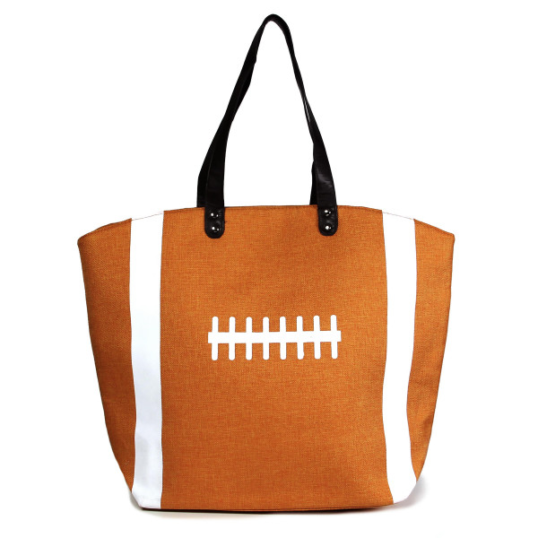 "Basketball tote bag is perfect for tailgating and monogramming. This bag features a snap closure, lined interior and interior pockets. 16"" x 19"" in size with a 10"" handle drop. 80% cotton and 20% polyester."