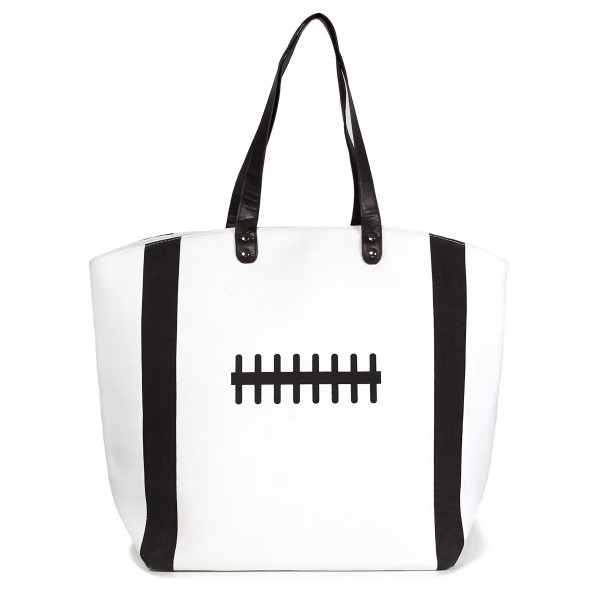"Baseball tote bag is perfect for tailgating and monogramming. This bag features a snap closure, lined interior and interior pockets. 16"" x 19"" in size with a 10"" handle drop. 80% cotton and 20% polyester."