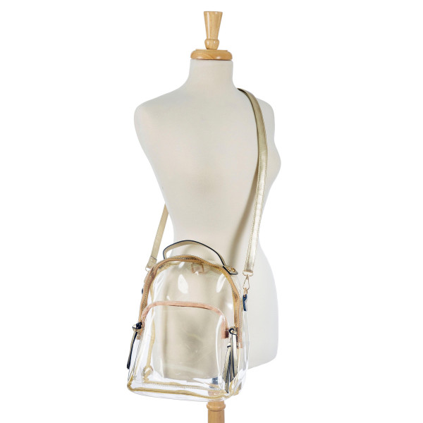 Wholesale clear PVC handbag GAMEDAY bag can be worn crossbody bag backpack has t