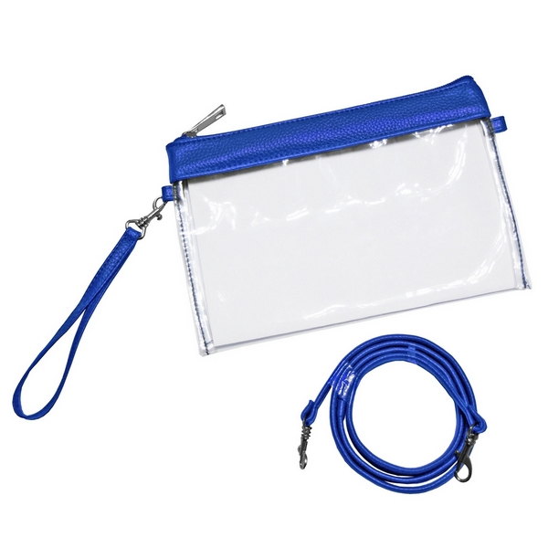 Wholesale clear PVC stadium purse trimmed team s color comes wristlet strap cros