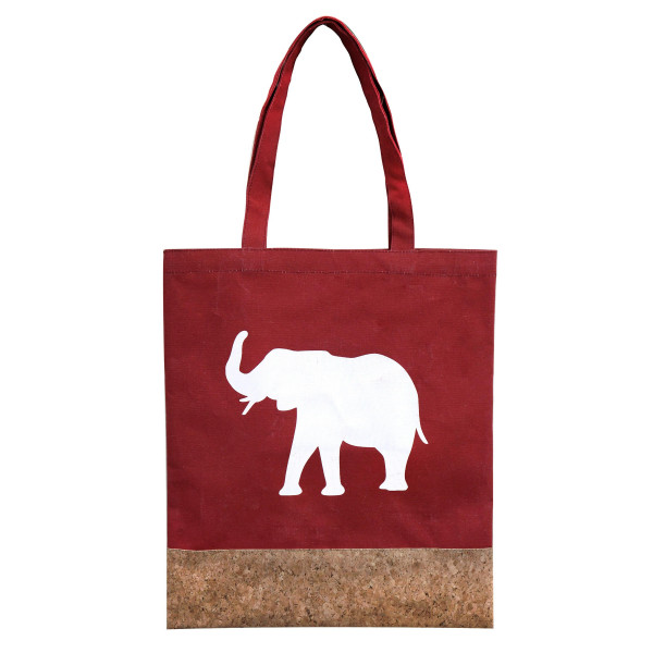 """Crimson canvas and cork tote bag printed with a white elephant design . Measures 16"""" x 14"""" in size with an 8"""" handle drop."""