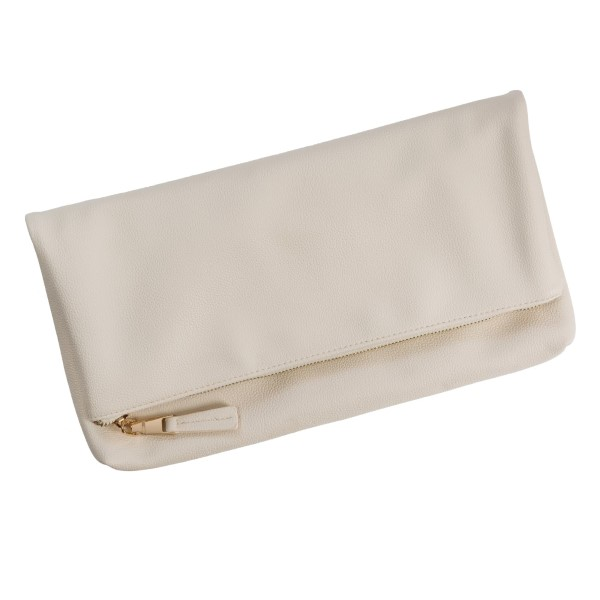 """Faux leather foldover clutch with a zipper closure and interior pockets. Measures 14.5"""" x 7.5"""" in size when folded."""