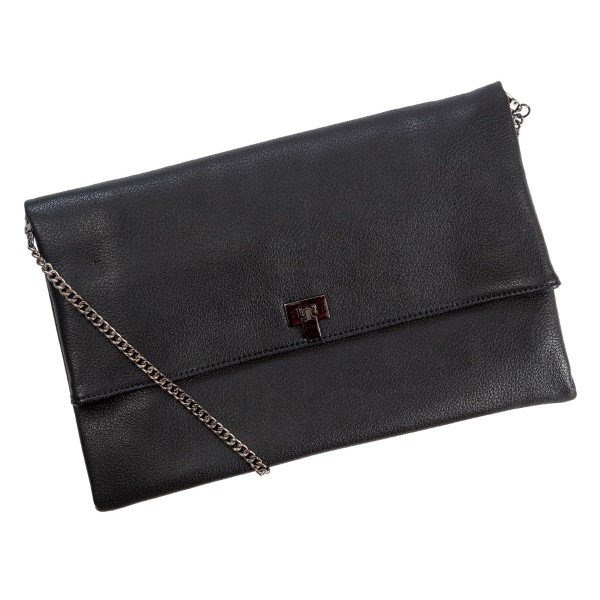 """Faux leather handbag/clutch with multiple interior pockets with a zipper and magnetic closure. Also comes with a chain shoulder strap of 18"""" in length. Measures 13"""" x 8"""" in size."""