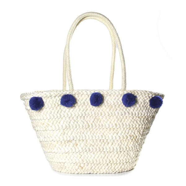 5c52419172 Wholesale woven straw tote bag pom pom accents at bottom at top shoulder  drop