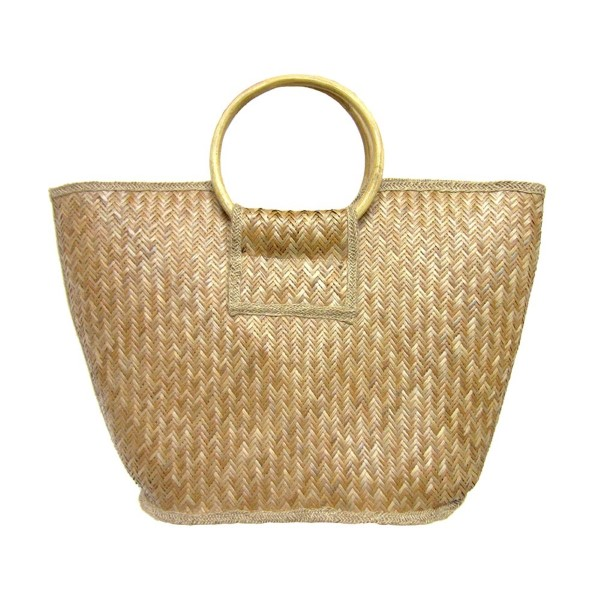 """Natural shade woven straw handbag with wooden hoop handle. Cloth-lined interior. Approximately 20"""" wide x 13"""" tall."""