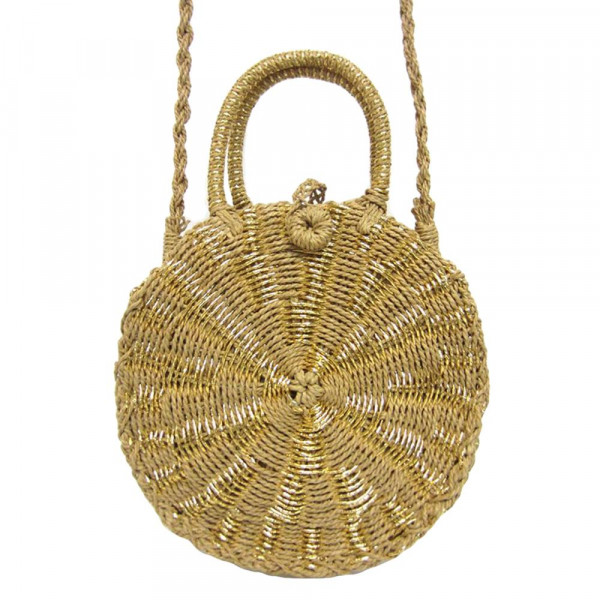 """Natural shade woven raffia handbag with gold highlights, short handle, and long shoulder strap. Cloth-lined interior. Approximately 9.5"""" in diameter."""
