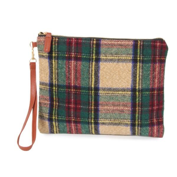 "Plaid wristlet bag. 100% acrylic. Size: 11""W x 8.5""H"