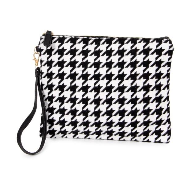 """Houndstooth wristlet bag. 100% acrylic. Size: 11""""W x 8.5""""H"""