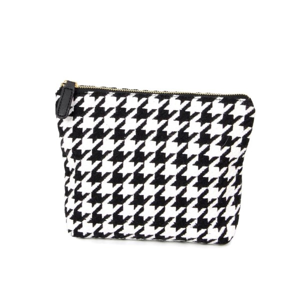 "Houndstooth pouch with zipper closure.   - Approximately 9"" W x 7"" H - 100% Acrylic"