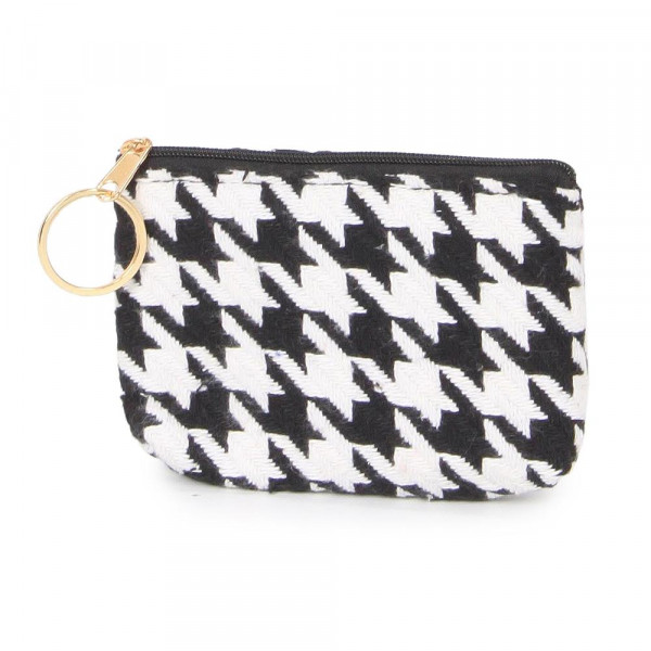 """Houndstooth coin purse. 100% acrylic and 5""""W x 3""""L"""