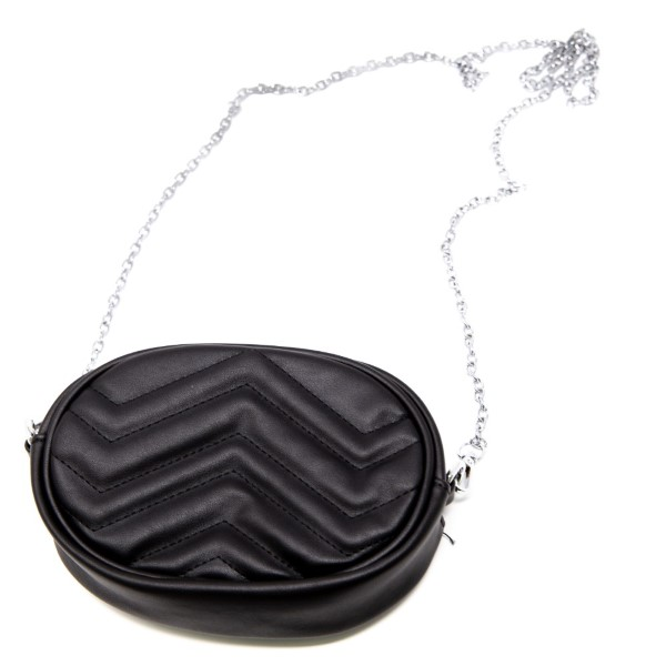 """Faux leather hip bag with metal cross body strap. 5"""" x 7"""""""