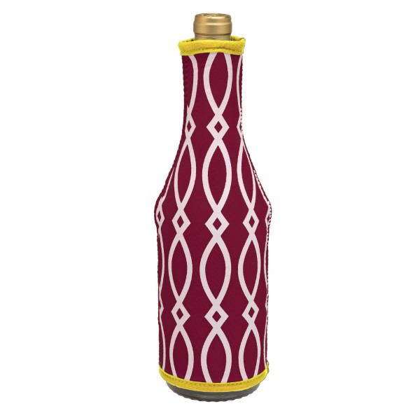 Insulated, neoprene, wine coozie with a maroon and yellow print. Perfect for monogramming and is machine washable.