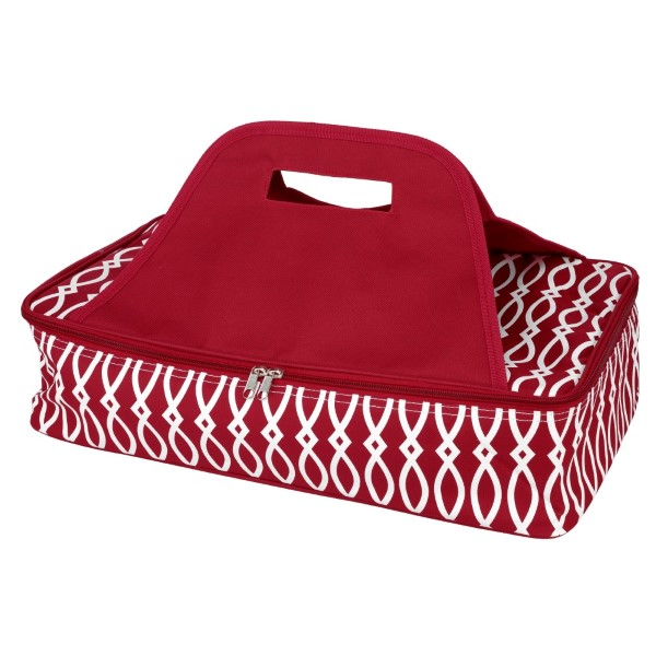 Crimson and white casserole carrier features thermal