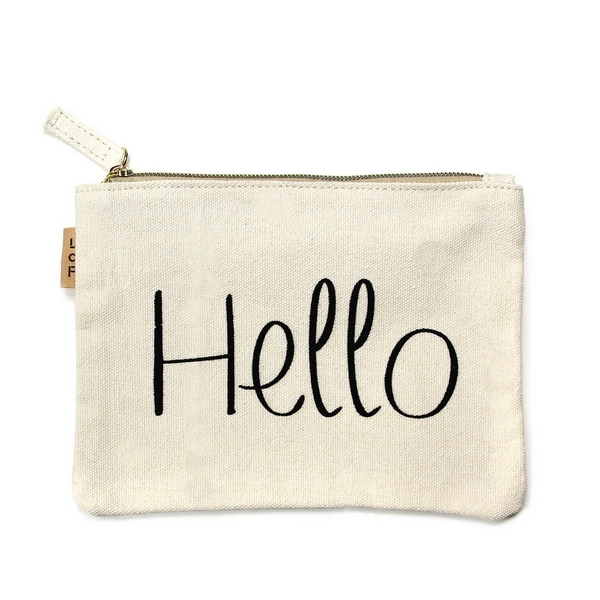 """Canvas zipper pouch with """"Hello"""" on the front. 100% cotton. Measures 7"""" x 6"""" in size."""