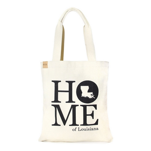 """Canvas tote bag with an inside pocket and """"Home of Louisiana"""" on the front. 100% cotton. Measures approximately 17"""" x 14"""" in size with an 11"""" handle drop."""
