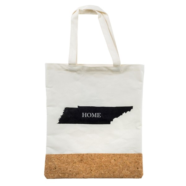 """Canvas and cork tote bag printed with your """"Home"""" state. Measures 16"""" x 14"""" in size with an 8"""" handle drop."""