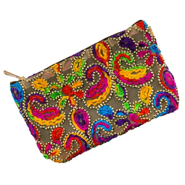 """Mesh pouch with a top zipper closure and a bright, multicolored, paisley embroidered pattern. Measures 9.5"""" x 6"""" in size."""