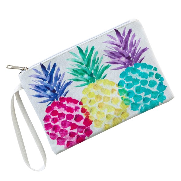 """Faux leather pouch with a wristlet strap, top zipper closure and a lined inside. 100% PU leather. Measures 9"""" x 6"""" in size."""
