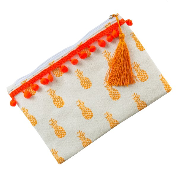 """Canvas pouch with a pom pom trim, top zipper closure and a lined inside. 35% cotton and 65% polyester. Measures 9"""" x 6"""" in size."""