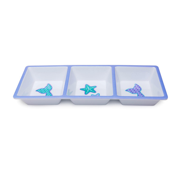 "Be the hit of each pool party this summer with this beachy inspired Melamine 3-Section Serving Dish. Your veggies or fruit will be perfectly displayed in this mermaid tails and starfish patterned dishware.  • Measures 14"" x 6"" • Dishwasher Safe • Microwave Safe"