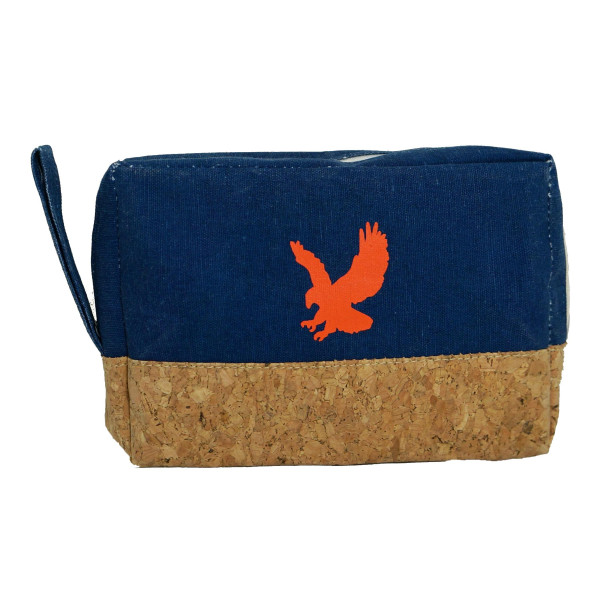 "Cork and canvas zipper bag with an eagle . Measures 8"" x 5.5"" in size."
