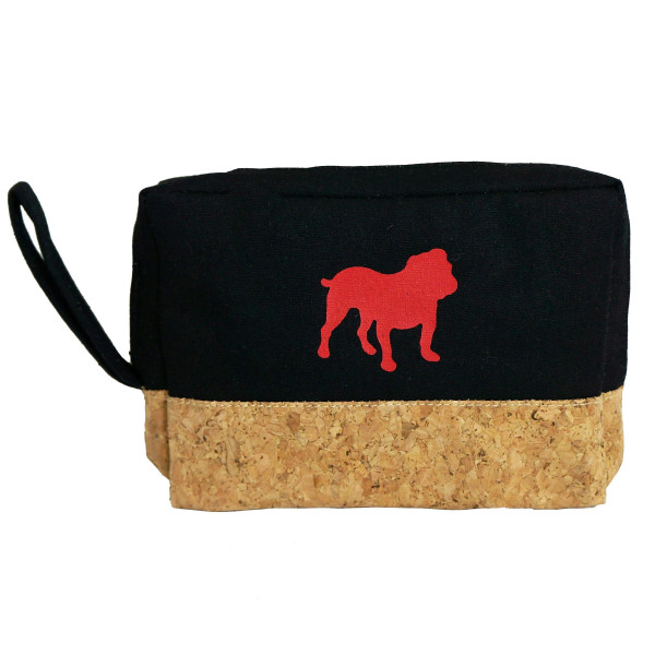 "Cork and canvas zipper bag with a bulldog . Measures 8"" x 5.5"" in size."