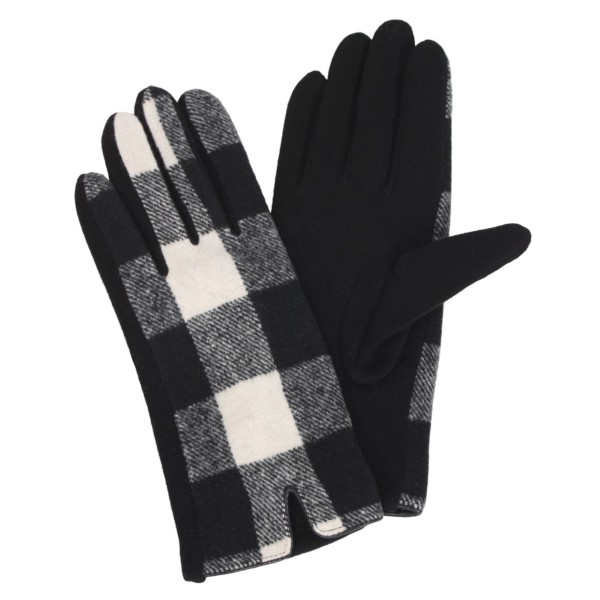 """Buffalo check gloves with smart touch. 100% polyester. Approximately 9.5""""L"""