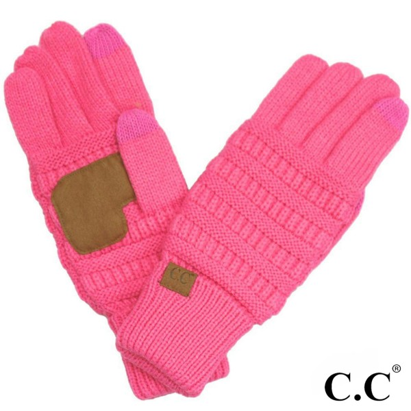 C.C G-20 Solid ribbed glove with smart tips  - 100% Acrylic - One size fits most