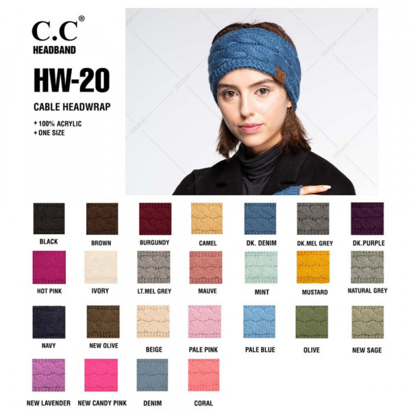 C.C HW-20 Cable knit headwrap  - 100% Acrylic - One size fits most