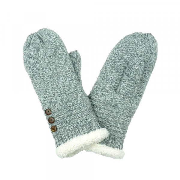 Knit mittens with button detail.   One size fits most.