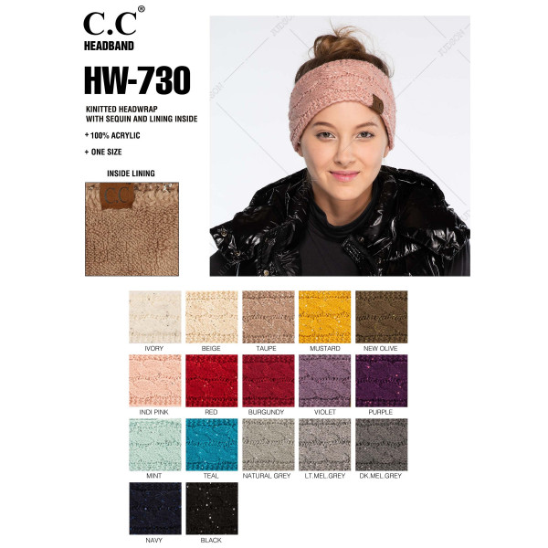 HW-730: Cable knit C.C head wrap with sequin detail.