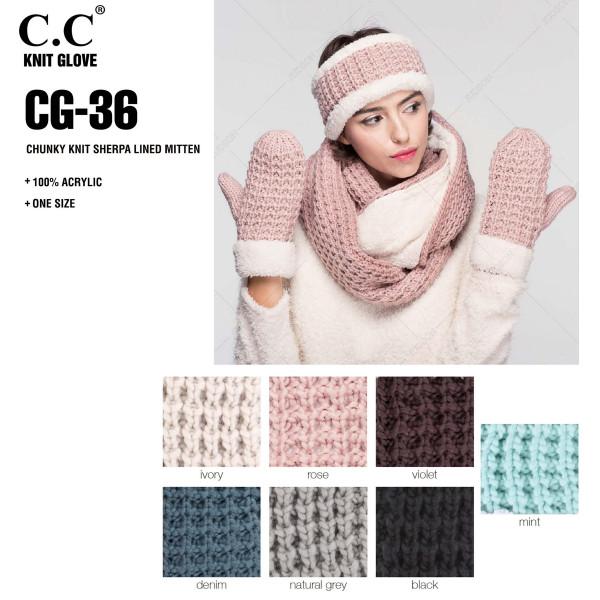 CG-36: Chunky knit sherpa lined C.C mitten. 100% acrylic.