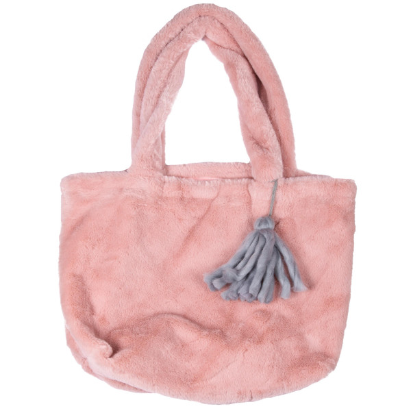 """Large tote bag with faux fur with tassel. 100% polyester. 18"""" wide and 12""""long."""