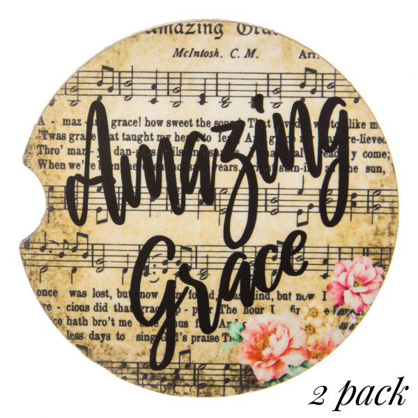 """""""Amazing Grace"""" musical printed car coaster set.   - Pack Breakdown: 2pcs / pack - Approximately 2"""" in diameter - Finger slot for easy removal - Condensation absorbing cork"""
