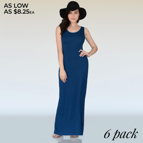 "Solid color full-length sleeveless maxi dress. Approximately 40"" in length.  - Pack Breakdown: 6pcs / pack  - Sizes: 2S / 2M / 2L  - Composition: 95% Rayon, 5% Spandex"