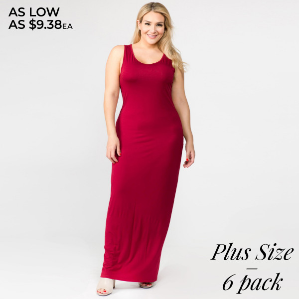 Solid color PLUS size full-length sleeveless maxi dress ...