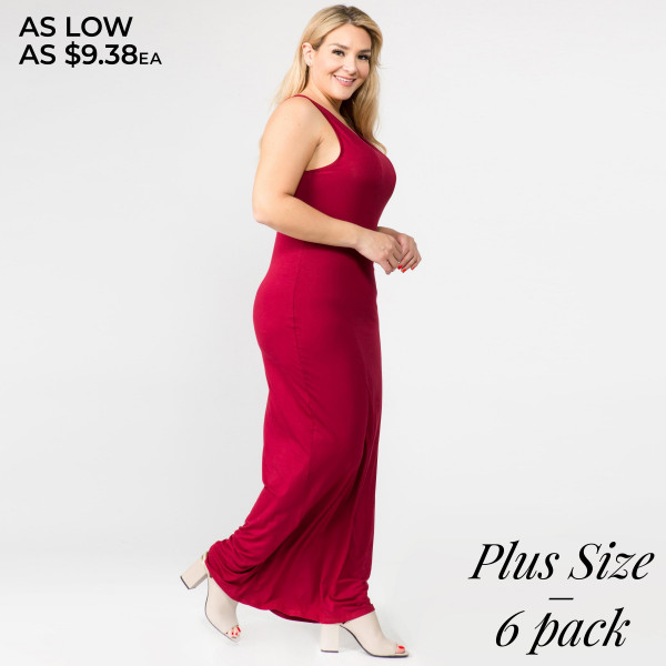 "Solid color PLUS size full-length sleeveless maxi dress. Approximately 50"" in length.  - Pack Breakdown: 6pcs / pack  - Sizes: 2-XL / 2-1X / 2-2X  - Composition: 95% Rayon, 5% Spandex"