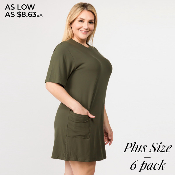Solid color PLUS size short sleeve tunic dress with pockets.   - Pack Breakdown: 6pcs / pack   - Sizes: 2-XL / 2-2XL / 2-3XL  - Composition: 95% Polyester, 5% Spandex