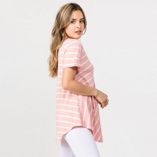 "Striped dusty rose and white REGULAR SIZE short sleeve tunic top comes. Approximately 27"" in length.  Pack Breakdown: 6pcs / pack  Sizes: 2S / 2M / 2L  Composition: 95% Rayon, 5% Spandex"