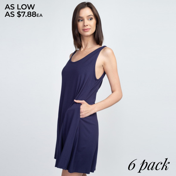 "Solid color REGULAR SIZE sleeveless tunic dress featuring a low back with twisted straps and side pockets. Approximately 28"" in length.  Pack Breakdown: 6pcs / pack  Sizes: 2M / 2M / 2L  Composition: 95% Rayon, 5% Spandex"