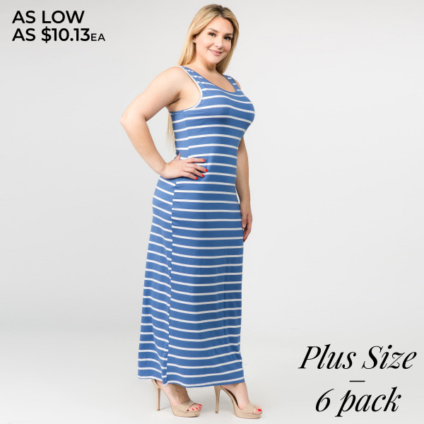 "Striped PLUS SIZE full-length sleeveless maxi dress. Approximately 50"" in length.  Pack Breakdown: 6pcs / pack  Sizes: 2-XL / 2-2XL / 2-3XL  Composition: 95% Rayon, 5% Spandex"