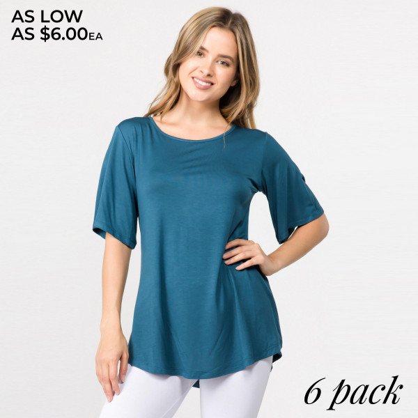 """Solid color REGULAR SIZE short sleeve tunic top. Approximately 25"""" in length.  Pack Breakdown: 6pcs / pack  Sizes: 2S / 2M / 2L  Composition: 95% Rayon 5% Spandex"""