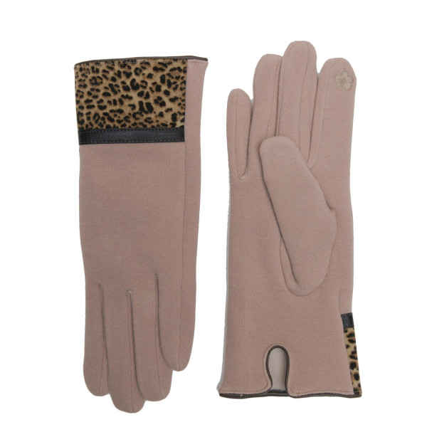 Leopard print trim touch screen gloves.  - One size fits most  - 65% Cotton, 35% Polyester