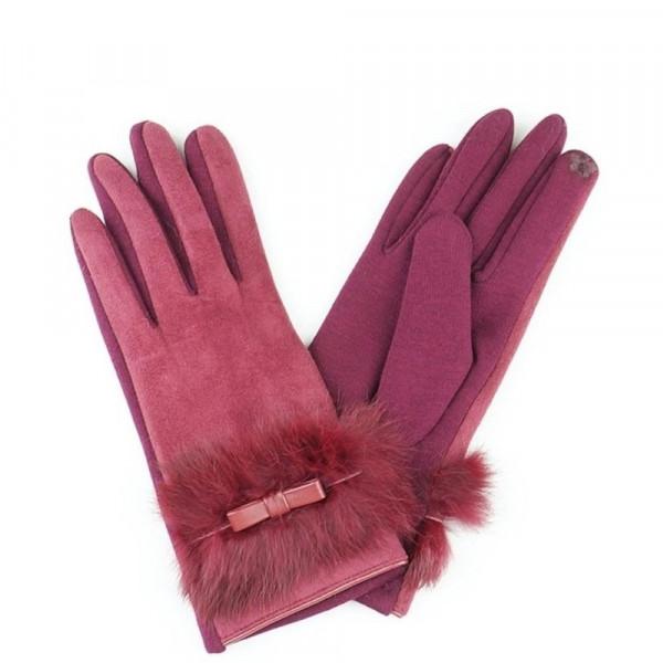 Rabbit fur bow tie smart touch gloves.  - One size fits most - 50% Cotton, 45% Faux Suede, 5% Rabbit Fur