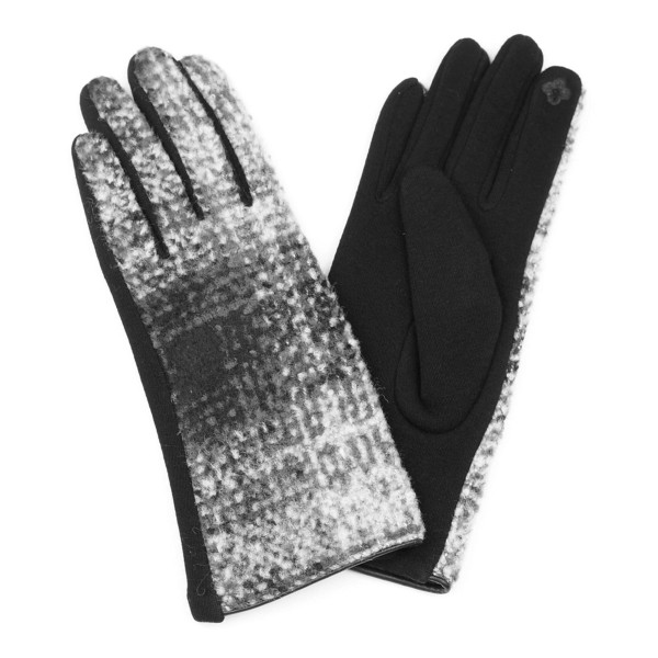 Gradation plaid smart touch gloves.  - One size fits most - 100% Acrylic