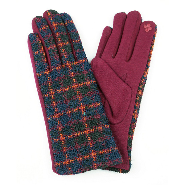 Multicolor plaid smart touch gloves.  - One size fits most - 100% Acrylic
