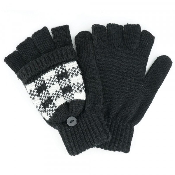 Buffalo plaid convertible gloves.  - One size fits most - 65% Acrylic, 35% Wool