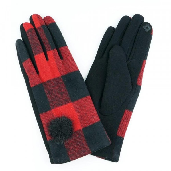 Buffalo check pom pom smart touch gloves.   - One size fits most  - 100% Acrylic