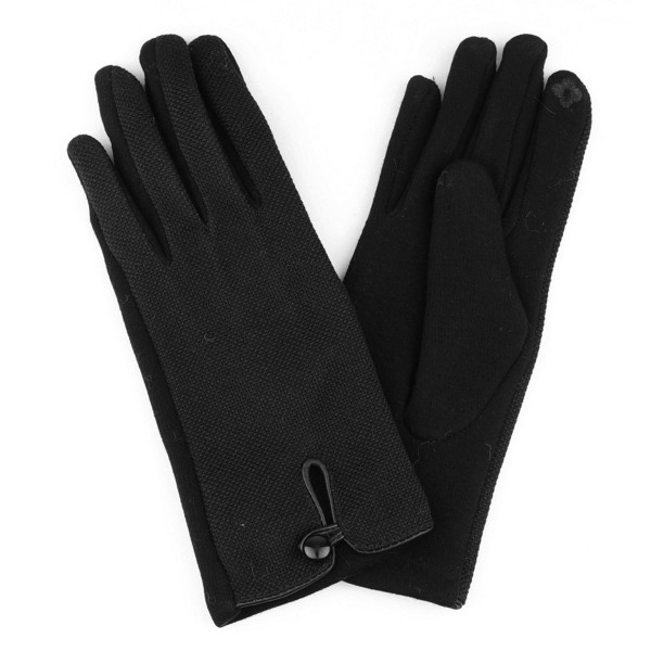 Tweed smart touch gloves with button detail.  - One size fits most  - 60% Cotton, 40% Polyester